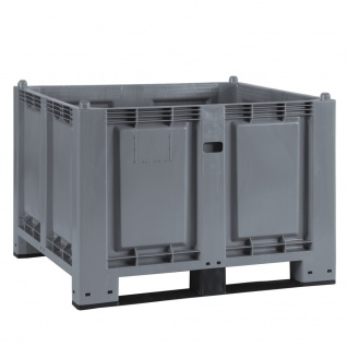 Palettenbox mit 2 Kufen, 1200x800x850 mm, Boden/Wände geschlossen, grau