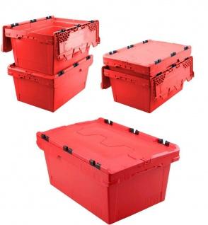 5x Mehrwegbehälter mit Deckel, rot, verplompbar, LxBxH 600x400x200 mm, 29 Liter