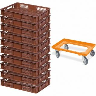 10 Bäckerkisten / Euroboxen, LxBxH 600x400x90 mm, braun + GRATIS Transportroller