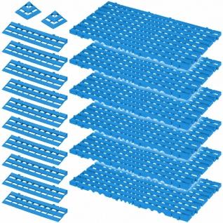 18-teiliges Set, 2, 4 m² Bodenrost, blau, aus lebensmittelechtem PE-HD
