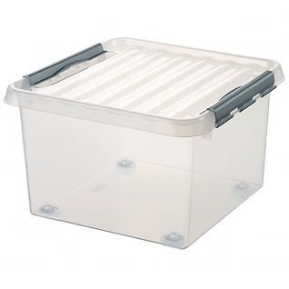 Klarsichtbehälter mit Deckel u. 4 Rollen, 26 Liter, 400 x 400 x 280 mm (55682)