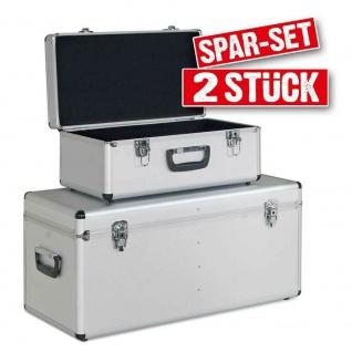 2er-Set Werkzeugkiste / Transportbox, Inhalt 1x 25 Liter, 1x 65 Liter, silber
