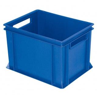 Stapelbehälter / Lagerkasten mit 2 Durchfassgriffen, LxBxH 400 x 300 x 270 mm, blau, Boden/Wände geschlossen - Vorschau
