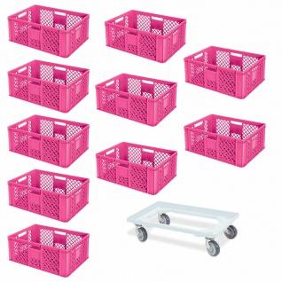 10 Euroboxen, 600x400x240 mm, pink, lebensmittelecht + GRATIS Transportroller
