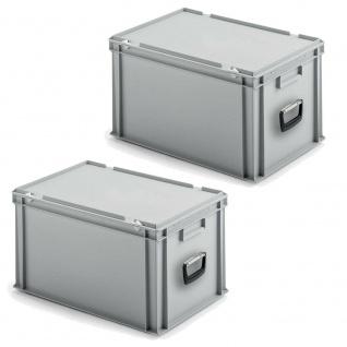 2 Eurokoffer / Gerätekoffer / Transportkoffer, LxBxH 400x300x330 mm, grau, PP