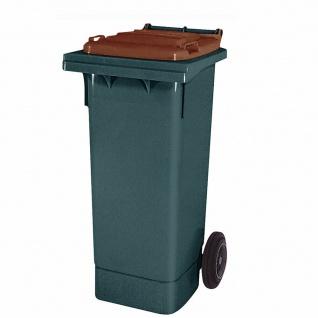 80 Liter MGB, Mülltonne Abfalltonne, grau mit braunem Deckel