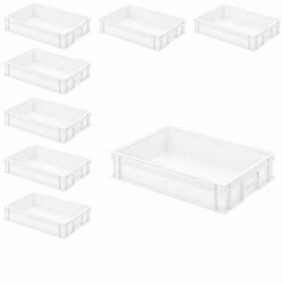 8 Euroboxen / Stapelkisten mit 2 Griffleisten, LxBxH 600 x 400 x 120 mm, weiß