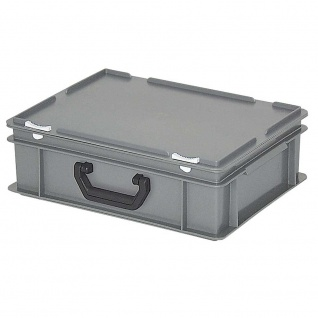 Kunststoffkoffer / Eurokoffer, mit 1 Tragegriff, LxBxH 400 x 300 x 130 mm, grau