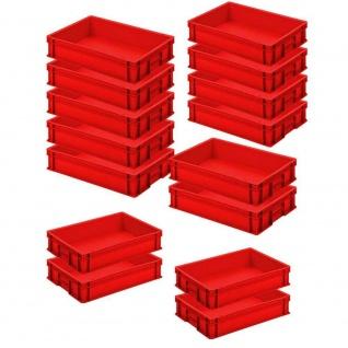 16 Eurobehälter mit Griffleisten, LxBxH 600 x 400 x 120 mm, 24 Liter, rot