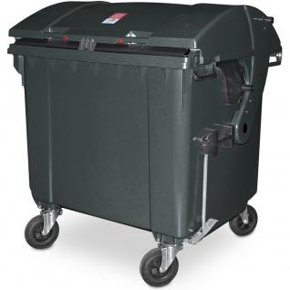 Müllcontainer nach EN 840, 1100 Liter, Runddeckel, mit Aufnahme-Kammleisten, grau