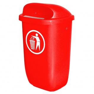 Abfallbehälter für den Außenbereich, Inhalt 50 Liter, nach DIN 30713, rot
