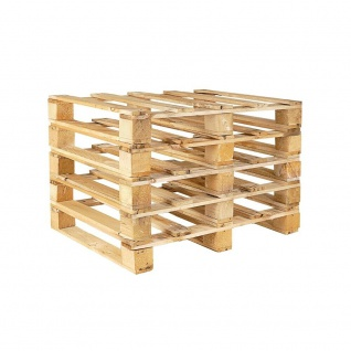 5x Holz-Einwegpalette im halben Euromaß (800x600x135 mm), 4-seitig einfahrbar