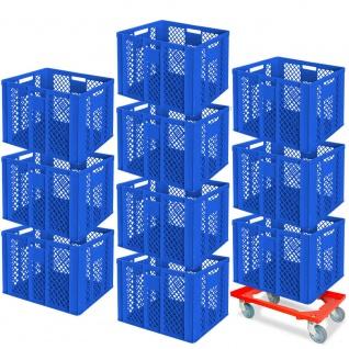 10 Euroboxen, 600x400x410 mm, lebensmittelecht, blau + GRATIS Transportroller