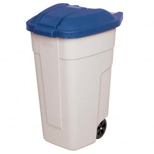 Wertstoffsammler mit Rädern, 100 Liter, beige/blau, HxBxT 850x510x550 mm