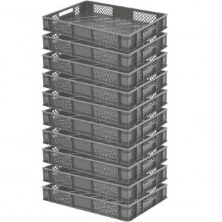 10 Bäckerkisten / Euroboxen, LxBxH 600 x 400 x 90 mm, lebensmittelecht, grau