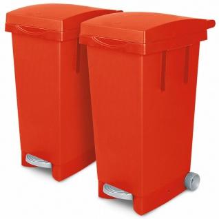 2x 80 Liter Abfallbehälter mit Rollen, 2x rot, Fußpedal, Deckel