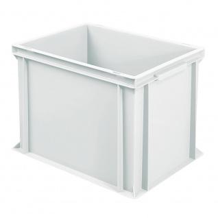 Stapelbehälter / Eurobehälter mit 2 Griffleisten, LxBxH 400 x 300 x 320 mm, weiß, Boden/Wände geschlossen