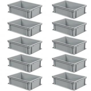 10 Eurobehälter mit 2 Griffleisten, LxBxH 400 x 300 x 170 mm, 16 Liter, grau