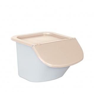 Vorratsbehälter / Zutatenspender, Inhalt 15 Liter, LxBxH 440 x 400 x 280 mm, Behälter weiß, Deckel beige