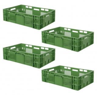 4x Stapelkorb / Obstkisten, LxBxH 600x400x200 mm, Inhalt 38 Liter, grün