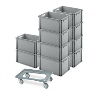 10 Eurobehälter 600x400x320 mm, grau + GRATIS Schwerlast-Transportroller