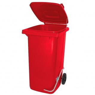 120 Liter Mülltonne mit Fußpedal für handfreie Bedienung, rot