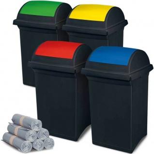 4 Abfallbehälter mit Schwingdeckel blau, gelb, grün, rot, 50 l + 300 Säcke á 100 l