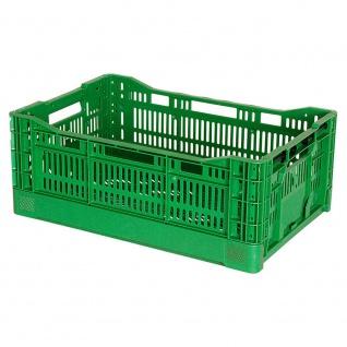 Klappbehälter / Gemüsekiste, LxBxH 600 x 400 x 240 mm, grün, Boden und Wände durchbrochen