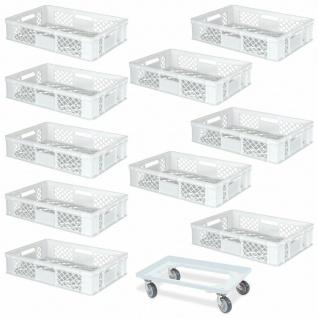 10 Euroboxen, 600x400x150 mm, lebensmittelecht, weiß + GRATIS Transportroller