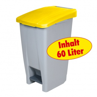 Tretabfalleimer mit Rollen, Inhalt 60 Liter, HxBxT 700 x 380 x 490 mm, Korpus grau/ Deckel gelb - Vorschau