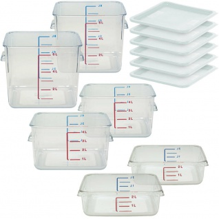 3x 2 Vorratsbehälter 2 l, 4 l und 6 l, Polycarbonat-Kunststoff (PC), mit Deckel
