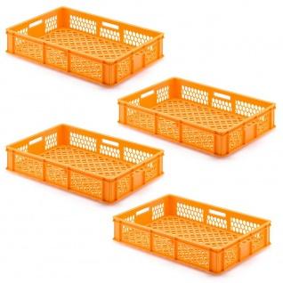 4 Transportbehälter für Backbleche, LxBxH 655x450x150 mm, orange, durchbrochen