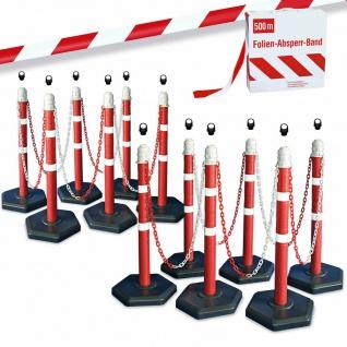 Kettenpfosten-Set, 12 Ständer, 22 m Kette, 12x Ösen, 500 m Absperrband rot/weiß