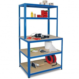 Packtisch / Werkbank, BxTxH 900 x 600 x 1800 mm, blau, Tragkraft 265 kg/ Boden