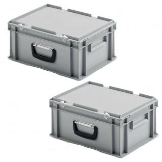 2 Kunststoffkoffer im Euroformat, 1 Tragegriff, LxBxH 400x300x185 mm, grau
