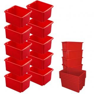 10x Drehstapelbehälter rot, LxBxH 455 x 360 x 245 mm, 32 Liter, PP