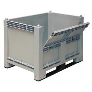 Volumenbox mit 2 Kufen und Klappe, 1200x800x850 mm, Boden/Wände geschl. (55154)