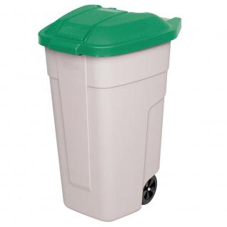 Wertstoffsammler, 100 Liter, Korpus beige, Deckel grün, HxBxT 850x510x550 mm