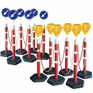 Kettenpfosten-Set, 12 Ständer, 22 m Kette, 6x Solar-Blinklampe mit Akku, 6x Leit