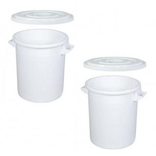 2x 50 Liter Kunststofftonnen / Futtertonnen mit Deckel, ØxH 450/360x480 mm, weiß