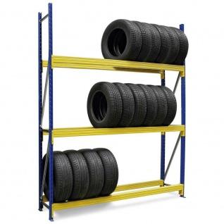 Reifenregal, erweiterbar, BxTxH 2380x400x2500 mm, Fachbreite 2300 mm, 3 Ebene