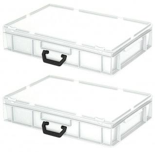 2 Aufbewahrungskoffer / Kunststoffkoffer, LxBxH 600x400x130 mm, 23 Liter, weiß