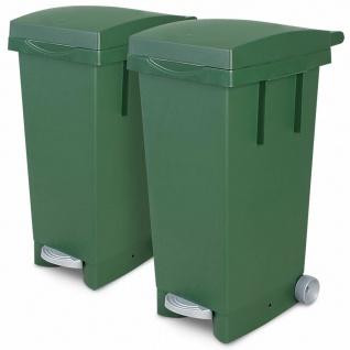 2x 80 Liter Abfallbehälter mit Rollen, 2x grün, Fußpedal, Deckel
