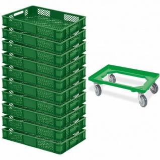 10 Euroboxen / Bäckerkiste, LxBxH 600x400x90 mm, grün + GRATIS Transportroller