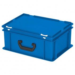 Eurokoffer mit Scharnierdeckel, Inhalt 16 Liter, LxBxH 400 x 300 x 180 mm, blau - Vorschau