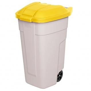 Wertstoffsammler mit Rädern, 100 Liter, beige/gelb, HxBxT 850x510x550 mm