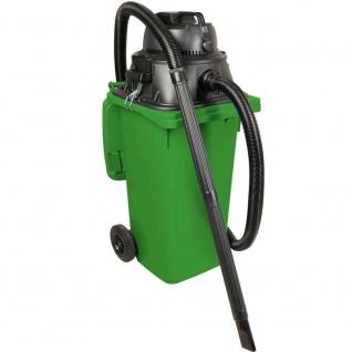 Industriesauger mit 120 Liter DIN Tonne grün, 1100Watt, inkl Steckdosenanschluss
