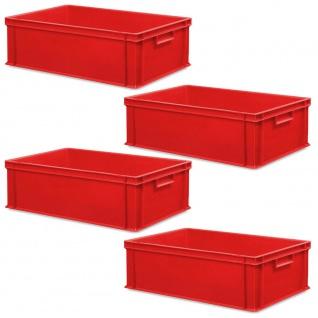 4 Eurobehälter mit 2 Griffleisten, LxBxH 600x400x220 mm, Inhalt 45 Liter, rot
