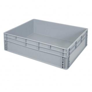 Eurobehälter / Stapelbehälter mit 2 Griffleisten, LxBxH 800 x 600 x 220 mm, grau, Boden/Wände geschlossen - Vorschau