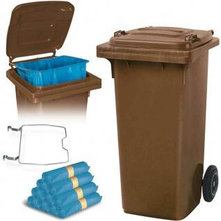 120 Liter Mülltonne braun mit Halter für Müllsäcke, inkl. 250 Müllsäcke